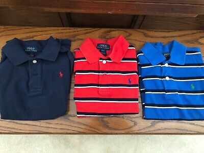 boys Ralph Lauren polo shirts size 4T-5T Lot Of 3 Red Stripe, Blue Stripe & Navy