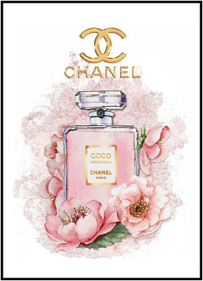 Chanel Perfume Bottle Art Print Picture Poster Wall Home Decor Dressing Room A4