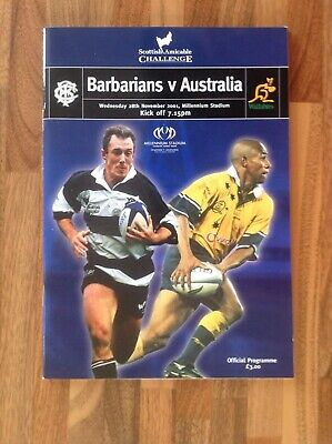 Barbarians V Australia Rugby Union Programme 2001.