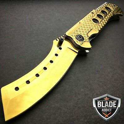 "9"" TACTICAL Razor Spring Assisted Open Folding Pocket Knife GOLD CLEAVER New -W"