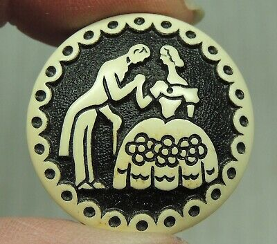 Vintage Buffed Celluloid Picture Button ~ Man & Woman Couple Greeting