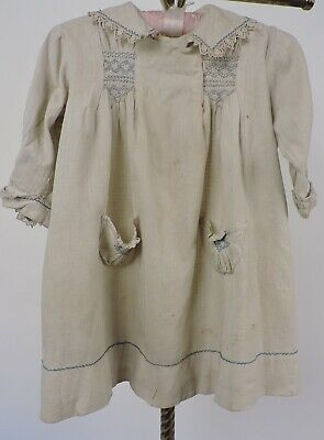 Antique Edwardian Hand Smocked Child's Dress W Lace Trims