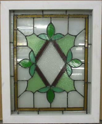 "MIDSIZE OLD ENGLISH LEADED STAINED GLASS WINDOW Stunning Diamond 20.5"" x 25.25"""