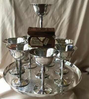Set Of 9 Vintage Art Deco Silver Plated Martini Wine Glass Goblet W/ Tray Signed