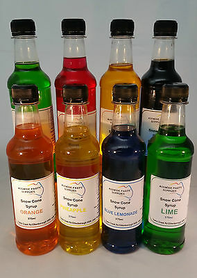 Snow Cone Syrup 5 x 375 ml Assorted Flavours  Ready To Use