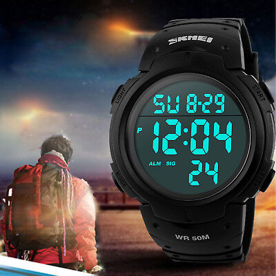 Men's Digital Sports Watches LED Screen Large Face Military Waterproof Watches