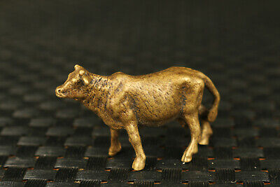 Mini Rare chinese old bronze hand casting ox statue figure hand piece gift