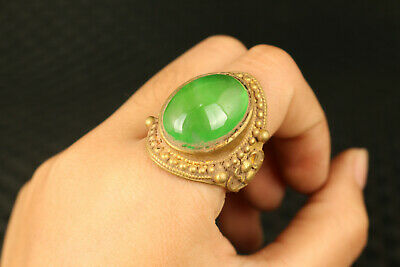 Rare china old copper inlay jadeite jade collectable ring noble gift