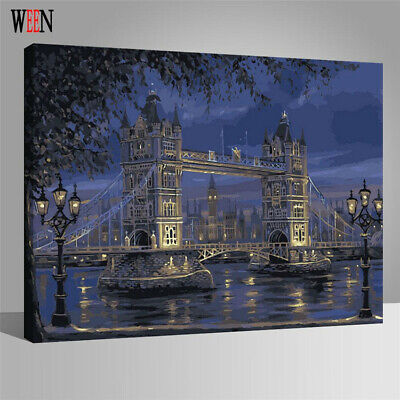 London Bridge DIY Paint By Numbers Framed Canvas Oil Wall Art Painting Picture