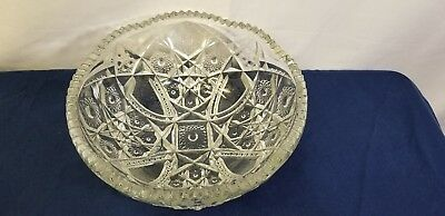 Thick Heavy Glass Bowl Scallop edge Pressed Pattern Vintage Estate Collectable