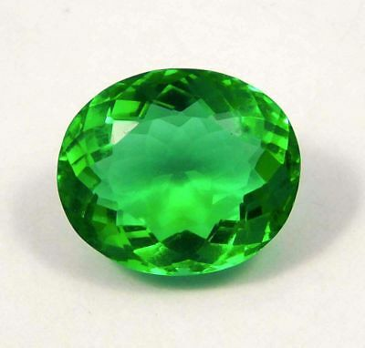 Faceted Treated Green Emerald Amazing-loose-Gemstone 11 Ct 15x12 mm NG12026