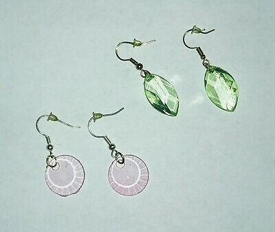 Lot of 2 clear bead fish hook earrings pink round green oval