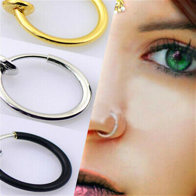 Clip on Body Jewelry Non Piercing Lip Ring Ear Clip Nostril Hoop Nose Ring