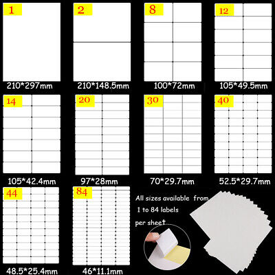 Supplies A4 Splitting Package Label Tag Self Adhesive Sticky White Stickers
