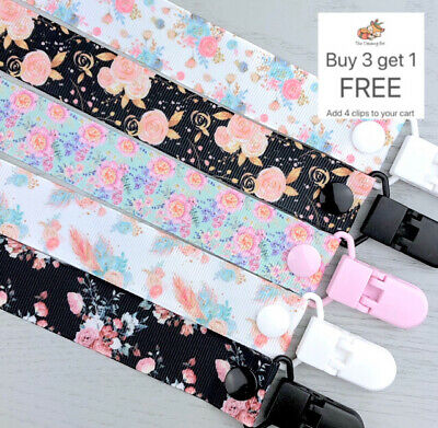 Dummy clip pacifier chain binky dummy soother baby clips gift holder floral