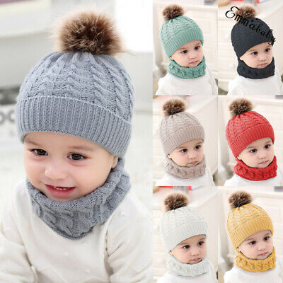 Baby Boys Girls Warm Winter Wool Kniting  Hat Scarf Set Kids Children Beanie Hat