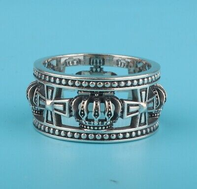 Solid Silver 925 Silver Hand-Carved Cross Ring Exclusive Custom Gift Collec Old