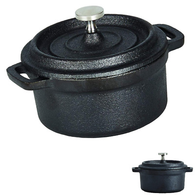 Small Cast Iron Pot With Lid Handle Mini For Eggs Camping Travel Pre Seasoned