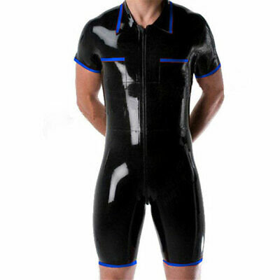 Men Latex Catsuit Rubber Anzug Kostüm Bodysuit Gummi Black& Navy Blue S-XXL