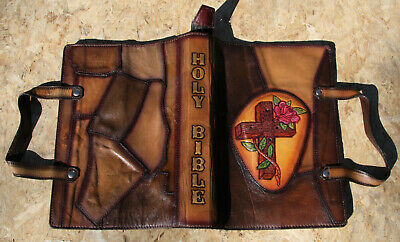 Beautiful antique vintage Handtooled Leather Bible Cover Tote excellent!!