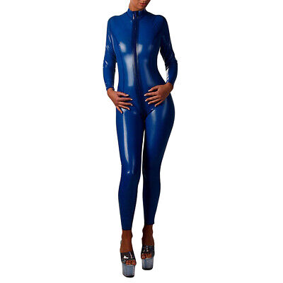 100% Latex Rubber Gummi Ganzanzug Kostüm Catsuit Tights Jumpsuit Zipper S-XXL