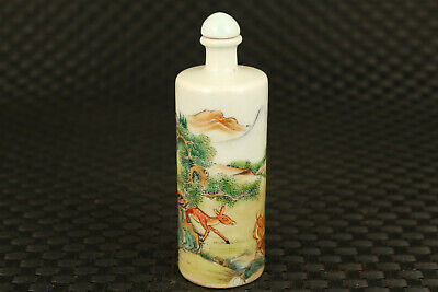 Chinese old porcelain hand painting deer snuff bottle