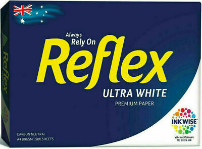 1 x Reflex A4 Ream Ultra White Copy Paper 80gsm  - 1 Ream of 500 Pages Sheets