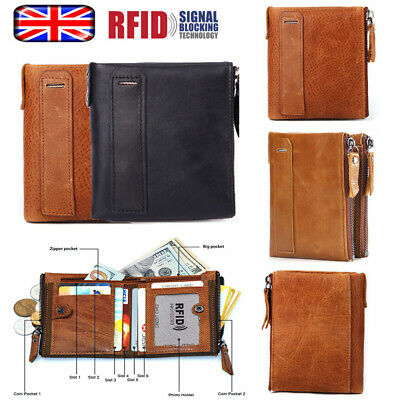 Mens Soft Genuine Leather RFID Blocking Card Wallet Luxury Zip Cash Coin Pocket