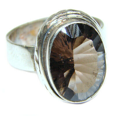 Smoky Topaz Ring  size 7 925 Sterling Solid Silver 7g Handmade Rings by SRStyle