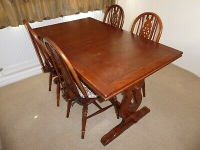 Old Charm Solid Oak (Refectory) Dining Table including 4 Wheelback Chairs