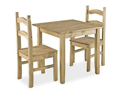 Dining Kitchen Table Set Small Square Two Chairs Rustic Light Waxed Solid Pine
