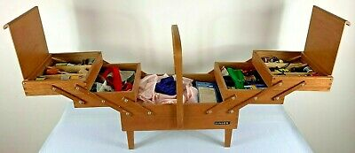 Vintage SINGER 3 Tier Wooden Sewing Box on Legs Full of Goodies Huge Collection!