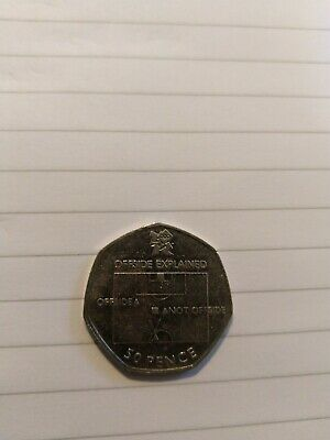 RARE 50p Coin OFFSIDE RULE explained 2011 Football London Olympic Fifty pence