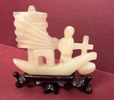 Fine Old Chinese White Jade Carved Statue Man ON Boat W/sail & Stand
