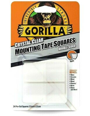 Gorilla Mounting Tabs Squares Double Sided Tape Sticky Pads Adhesive Clear New