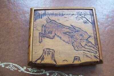 Lovely antique hand carved snuff box, hare design, signed .