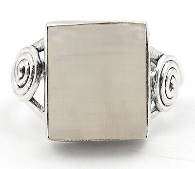 Wonderful Art Selenite 925 Solid Sterling Silver Ring Jewelry Sz 7, H10-6