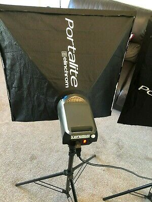 Elinchrom D-Lite 4 Studio Lights with carry cases, Tripods, Softboxes (Set of 2)