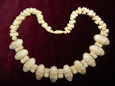 Antique Art Deco Carved Bovine Bone Tribal Heads Necklace ~ Japanese Chinese