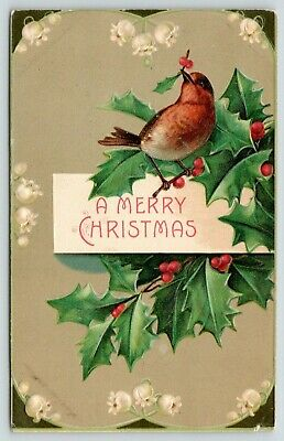 Christmas Bird~Little Red Breast With Holly Berry in Beak~Lily of Valley~BW 299