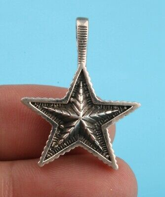 Retro China 925 Silver Pendant Statue Star Solid Heart Handmade Mascot Gift Old