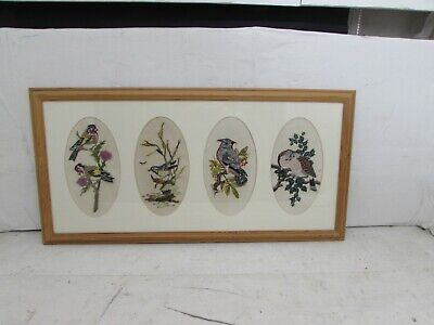 Framed & Mounted Embroidery Picture Depicting 4 Bird Scenes