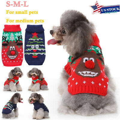 Christmas Dog Sweater Pet Knitwear Puppy Sweaters Apparel Jumper Small Large Dog