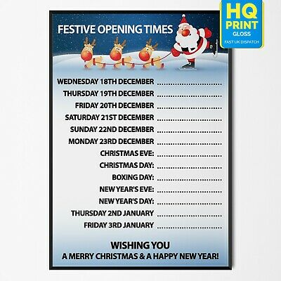 Christmas (XMAS) Opening Hours/Times Custom Advertisement Poster #1 A4 A3 A2 A1