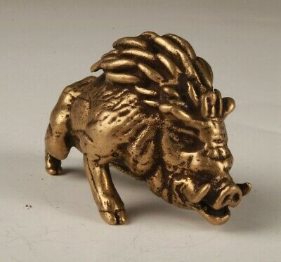 Rare China Old Bronze Hand-Carved Boar Statue Figurine Old Collection
