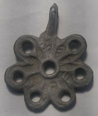 Rare genuine authentic ancient Byzantine bronze flower pendant artifact intact