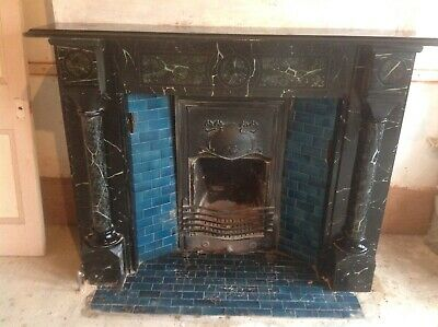 Victorian Slate Fireplace with cast iron insert