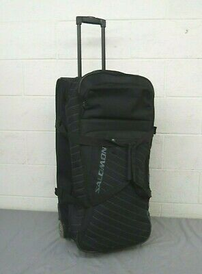 "Salomon Black Nylon Rolling Duffel Travel Bag 13x15x30"" STRAP NEEDS TO BE SEWN"