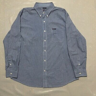 Mens Blue And White Check Shirt / Size XL / By Chaps - Ralph Lauren / Quality