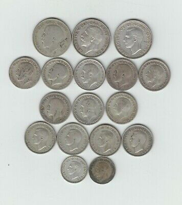 Collect/Scrap Pre 1947 British Silver (.500) 17 Coins (1s-3ds), Weight 51.54gms